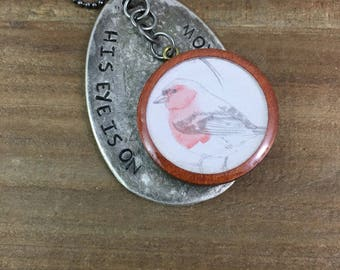 Spoon Necklace-Scripture Necklace-Stamped Jewelry-His Eye is on the Sparrow