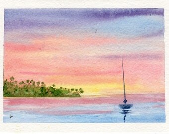 Original watercolor painting GREETING card SFA boat Good Morning sunrise