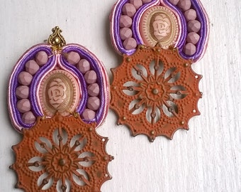 Shades of Pink Soutache Post Earrings
