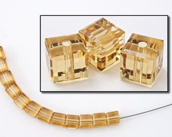 Swarovski 5601 Light Colorado Topaz Cube Bead