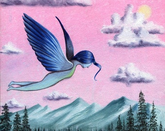 One Time, I Had Wings - 8x10 Art Print - Whimsical Surreal Bird Girl Flying Over Trees and Mountains - Art by Marcia Furman