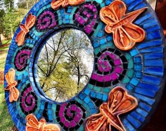 Dragon Fly Mosaic Mirror Handmade Ceramic tile Art One af a kind artist made