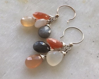 Cluster Earrings, Moonstone Earrings, Handmade Earrings, Cluster of Moonstone Earrings