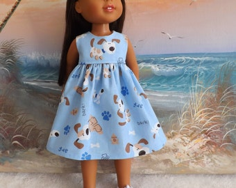 14 and 14.5 Inch Doll Clothing Dress Puppy Dogs on a Light Blue Background Fits Dolls like H4H and Wellie Wishers