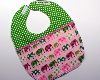 Baby Girl Bib-Elephants-Baby Bib-Infant Bib-Baby Shower Gift