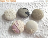 CLEARANCE - 5 beige black pink  fabric  buttons - 7/8 inches
