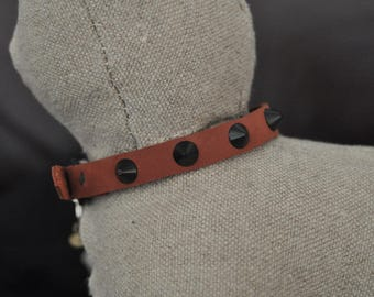 Brown Deer Leather Cat Collar with Black Metal Spikes (The Evelyn)