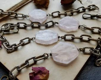 strange love - rose quartz slab bracelet crystal bracelet pink bracelet crystal bracelet rose quartz bracelet vintage brass chain occult