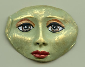 Polymer Clay Green Detailed Green Face Shard  DGSH 1