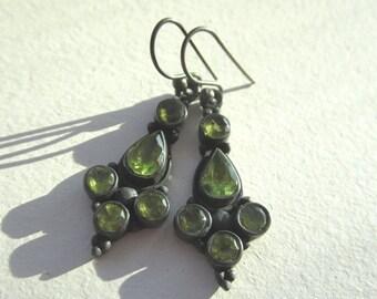 BlackFridaySale Peridot Gemstone Earrings.  Green Peridot Earrings, Peridot Dangle Earrings. Bezel Set Earrings in Oxidized Silver.