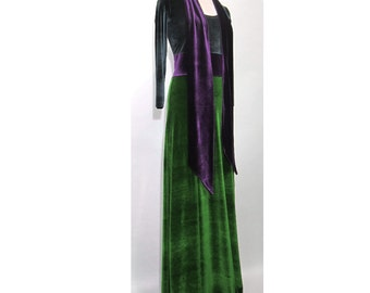 Velvet maxi dress, Emerald Green Scoop Neck with Sapphire Blue sash & midriff extra long  fitted sleeves floor length Ruby Red skirt bottom