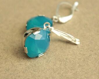 Caribbean Blue Opal Swarovski Earrings - Silver Plated - Leverback Earwires