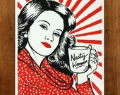 Nasty Woman Art Prints 11x14 TWO-PACK / Hand Screenprinted black and red / Protest Art, Propaganda Poster / Feminist Art Gift