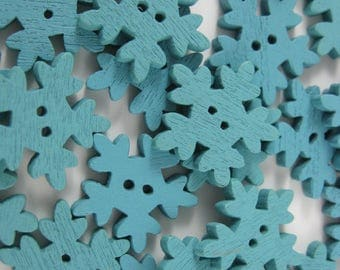 Snowflake Buttons, Lot of 30 - 2 Hole, 3/4 Inch Wooden Buttons in Aqua