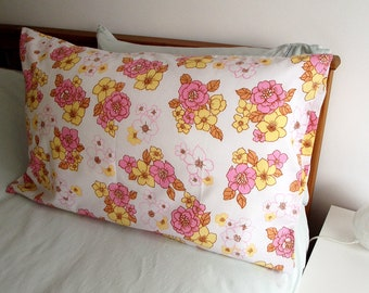 Vintage Single Pillowcase - Yellow and Pink Floral Pattern