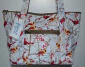 Quilted Fabric Handbag Purse with Beautiful Cardinal Birds