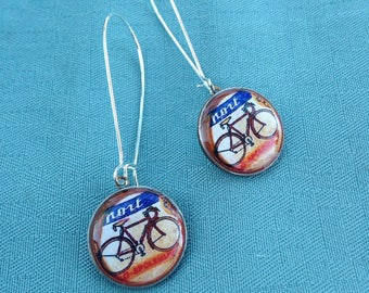 Vintage Bicycle Illustration Earrings - Bike Earrings - Bike Dime coin Earrings Coin Jewelry - Repurposed - gift idea girlfriend