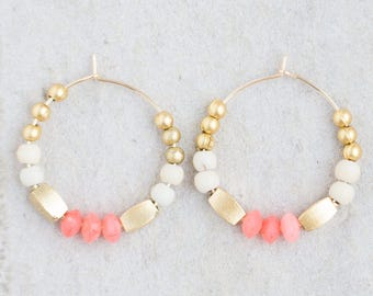 Coral Earrings, Pink Coral Hoops, 14K Gold Filled Hoops, Blush  Earrings, Pastel Earrings, Gold bead Hoops, Pink Earrings, Blush Earrings