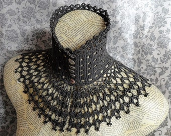 Grey Gray Lace Crochet Choker Victorian Mourning Steampunk Gothic Victorian Noir
