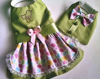 Easter Dress Pink and Green Easter or Dog Harness Vest for your Yorkie Chihuahua Pomeranian Maltese Dachshund Teacup Puppy Fur baby