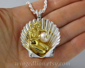 The BIRTH OF VENUS  silver & gold pendant with Pearl and diamonds