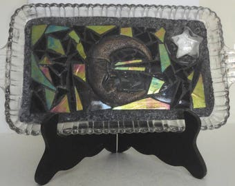 "Stained Glass Mosaic, Glass Vanity Tray, Home Decor, Sculpture, Crescent Moon, Stars, Original Art, Nature Art, Twilight, ""Night Sky"""