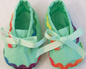Baby Girls Green with Ric Rac Fabric shoes, Handmade, Baby Shower Gift, Made in the USA, #40