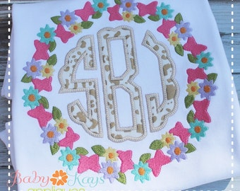 Flower Butterfly Monogram Frame Embroidery Design 4x4, 5x7, 6x10, 8x8