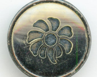 "Victorian Celluloid Button with Fabric/Velvet Flower Background Perfume 1 1/4"" 3194"