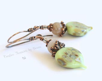Green Lampwork Bead Earrings Copper Earrings Morganite Gemstones Swavorski Crystals Leaf Lampwork Beads