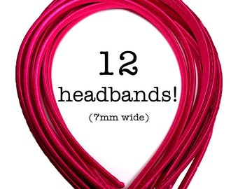 12 Hot Pink satin headbands - skinny satin headbands in BULK