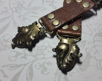 Short Skirt Clip set Brown Leather Antique Brass Leaves Elfin Steampunk bustle clips Garter by Darkwear Clothing