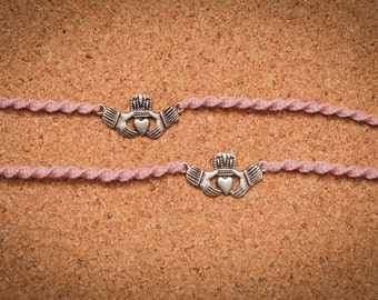 Pink and Silver Claddagh Tie-On Bracelets