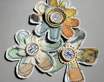 Shabby Paper Flower Embellishments, Set of 3, scrapbooking, journaling, paper arts