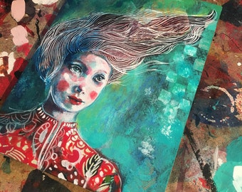 Windswept -Original mixed media painting by Maria Pace-Wynters