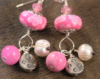 White flowers on pink polymer clay, freshwater pearls, quartzite stone, glass and silver charm earrings