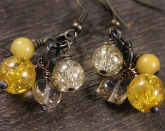 Citrine, amber fossil resin, yellow jade stone and gold crackle glass antique brass earrings