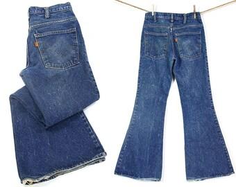 "60s Bell Bottom Levi's Jeans / Vintage 1960s Denim Flares / High Waist Orange Tab 646 Bellbottoms / Distressed Faded Worn In / 30"" x 32"""