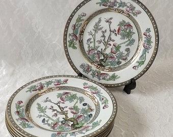 J G Meakin Indian Tree Plates, Set of 7 Vintage 8 Inch Salad Dishes, Hanley England