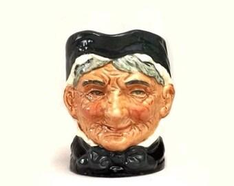Royal Doulton Granny Toby Mug, Vintage Small 3 3/8 Inch Character Jug, D6384, Dickens Character Collectible