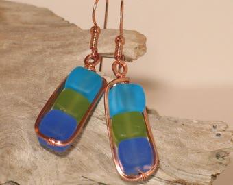 Copper & Seaglass Earrings