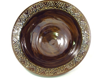 slip trailed fruit bowl in coffee