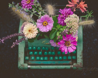 Fine Art Print, Typewriter Art, Typewriter Photo, Flower Photography, Floral Decor, Blue-green, Teal, Nature Print, Whimsical Art, Wall Art