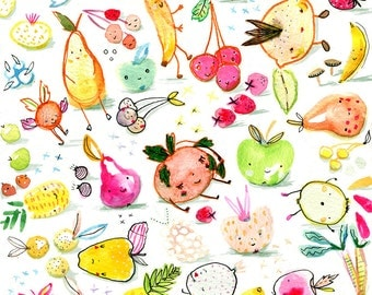 Fruit People A4 print 21 x 30 cm from my watercolor illustration