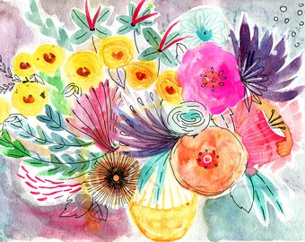 Happy Blooms A4 print 21 x 30 cm from my watercolor illustration
