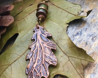Faerie Oak Leaf Pendant Copper, Long Leaf Necklace, Leaves, Irish Celtic Jewelry, Connemara Marble, Viking Norse Nordic Druid Pagan Jewlery