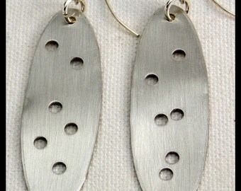 EVA - Handforged Long Dramatic Pewter Statement Earrings with Modern Twist