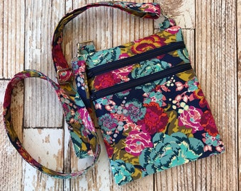 Floral Cross Body Everyday Bag Small purse Zipper Bag Shoulder bag Womens purse Travel bag Handmade bag Gifts for her.