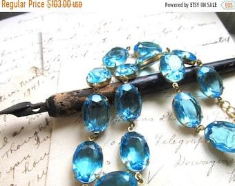 SALE Blue statement necklace, Anna Wintour necklace, Aquamarine, collet,  aqua statement necklace,  georgian collet necklace, georgian paste
