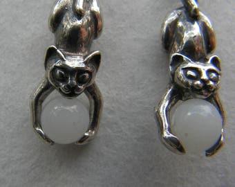Sterling Silver Kitten Earrings With Moonstone